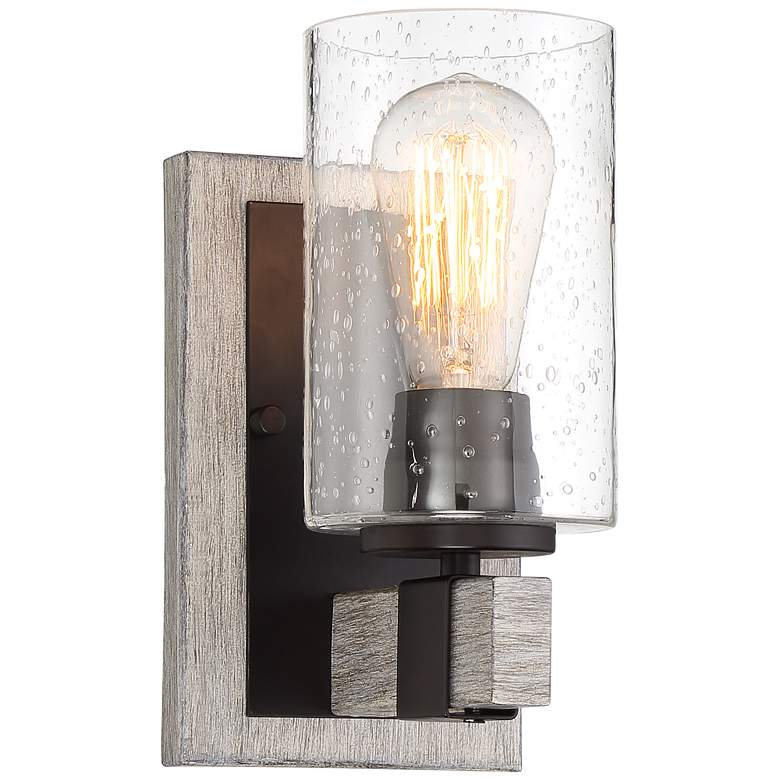 "Poetry 9"" High Bronze and Gray Wood Grain Wall Sconce"