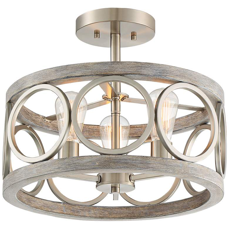 """Salima 16"""" Wide Nickel and Gray Wood 3-Light Ring Ceiling Light"""