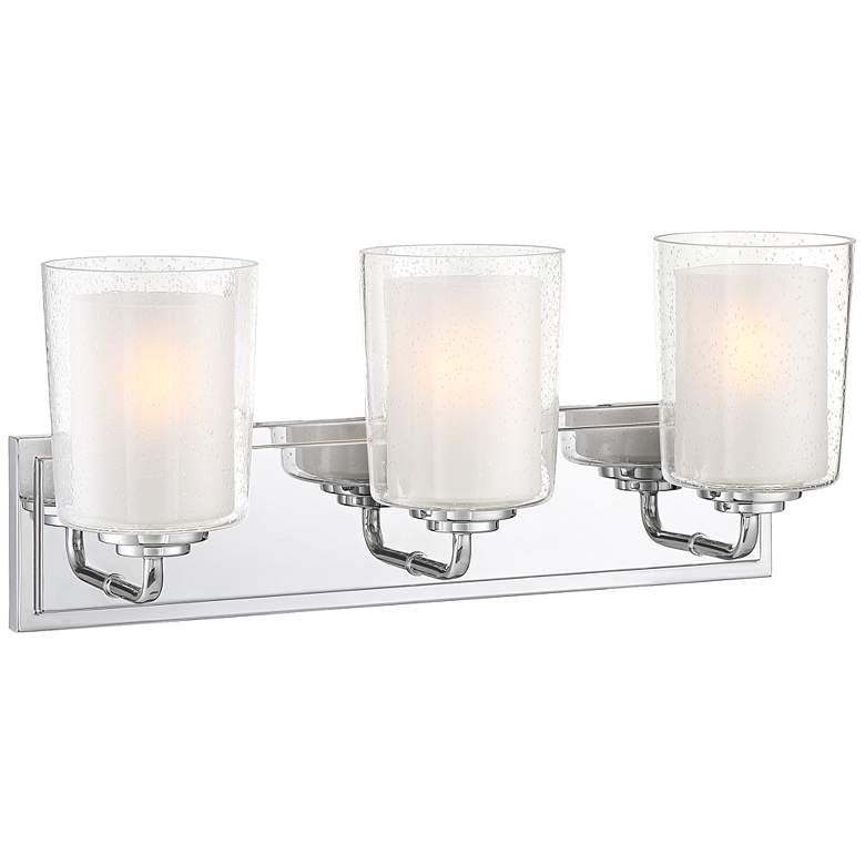 "Possini Euro Mabelle 28""W Double Glass 3-Light Bath Light"