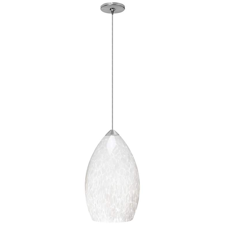 """Firefrit 4 1/2"""" Wide White and Nickel Freejack Mini Pendant"""