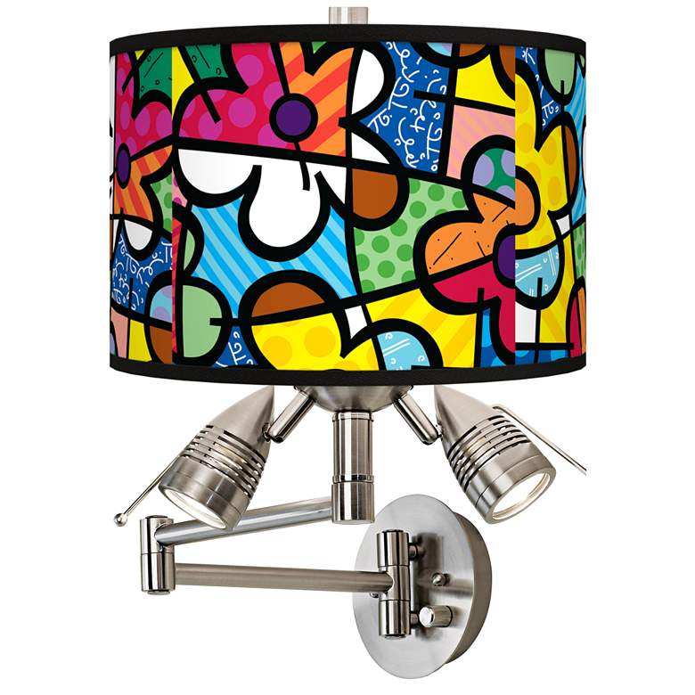 Romero Britto Flowers Giclee Plug-In Swing Arm Wall Lamp