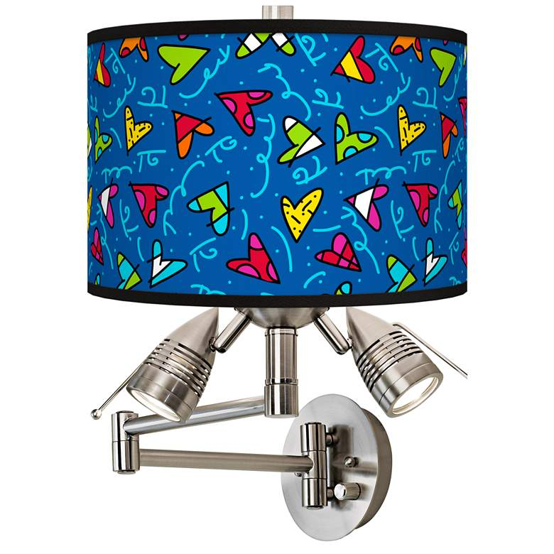 Britto Hearts Giclee Swing Arm Wall Lamp