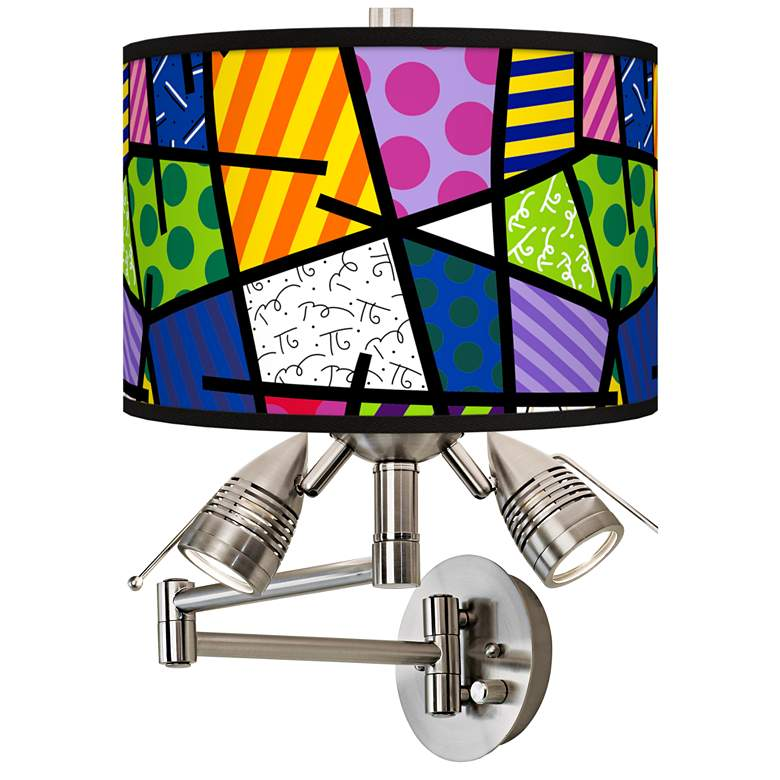 Romero Britto Abstract Giclee Plug-In Swing Arm Wall Lamp
