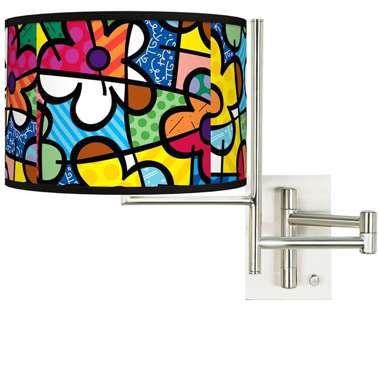 Tempo Romero Britto Flowers Plug-in Swing Arm Wall Lamp