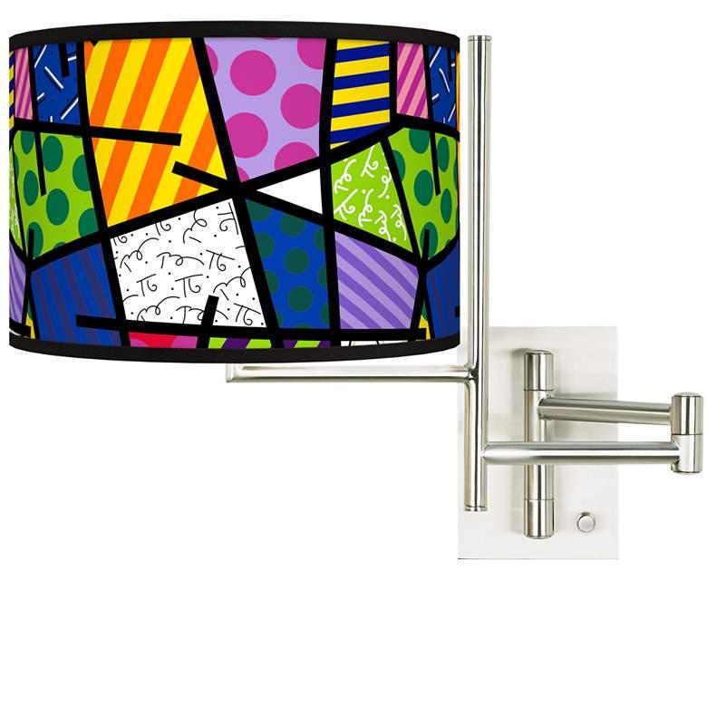 Tempo Romero Britto Abstract Plug-in Swing Arm Wall Lamp