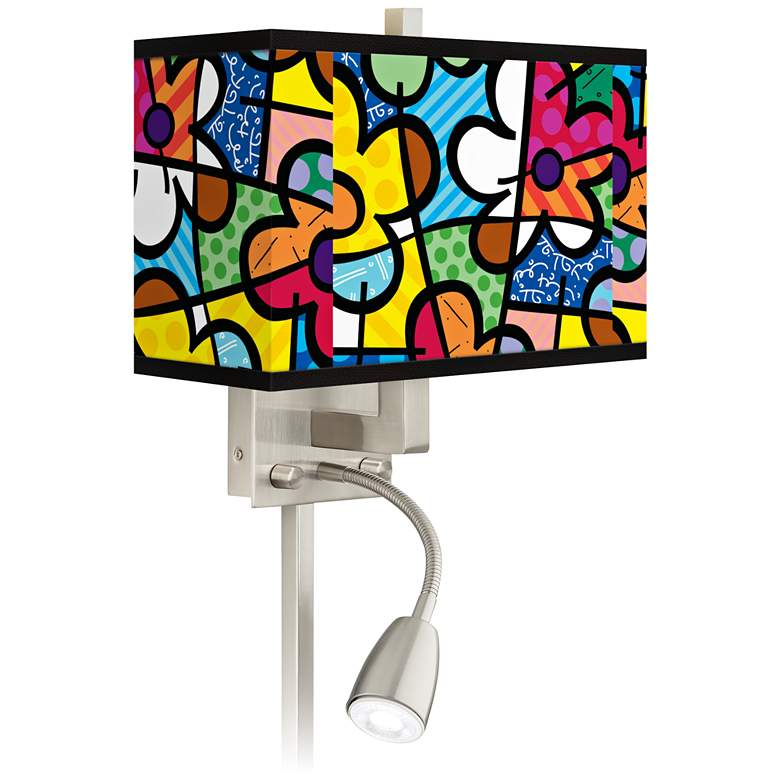 Britto Flowers LED Reading Light Plug-In Sconce