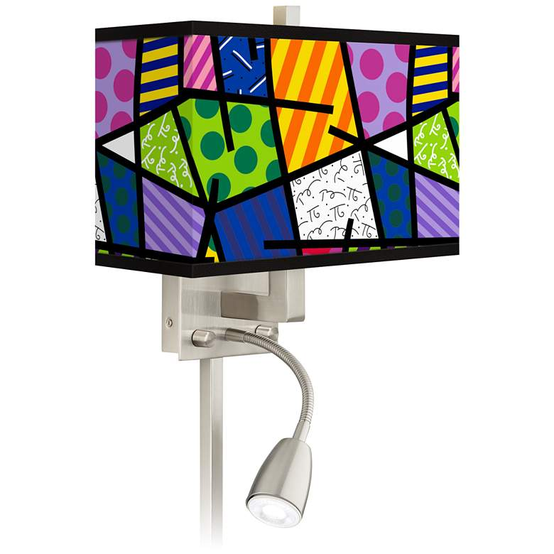 Romero Britto Abstract LED Reading Light Plug-In Sconce