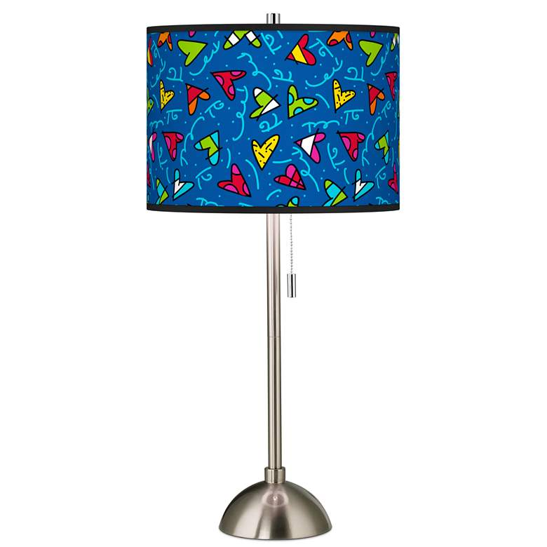Britto Hearts Giclee Brushed Nickel Table Lamp