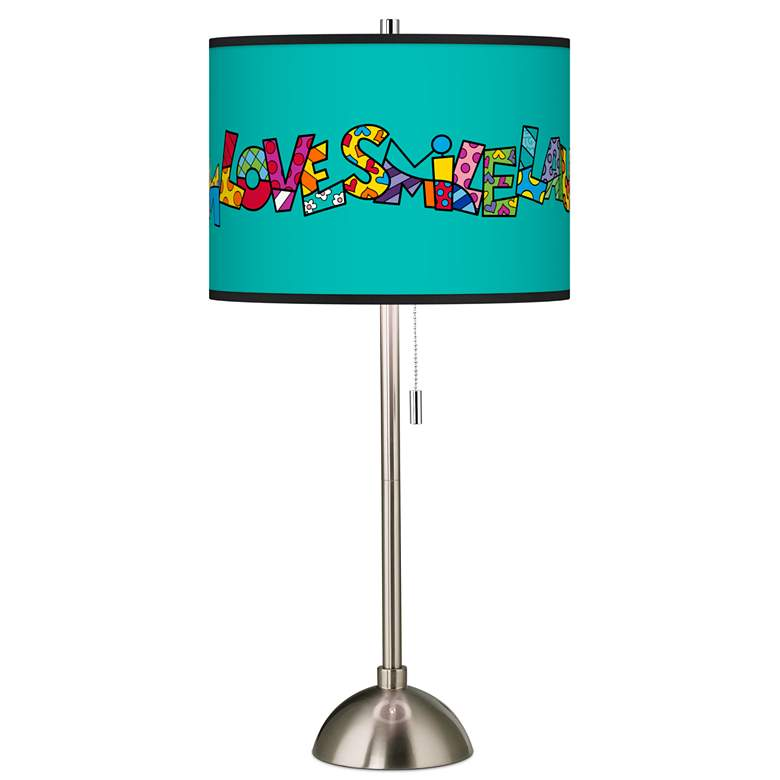 Britto Love Smile Giclee Brushed Nickel Table Lamp