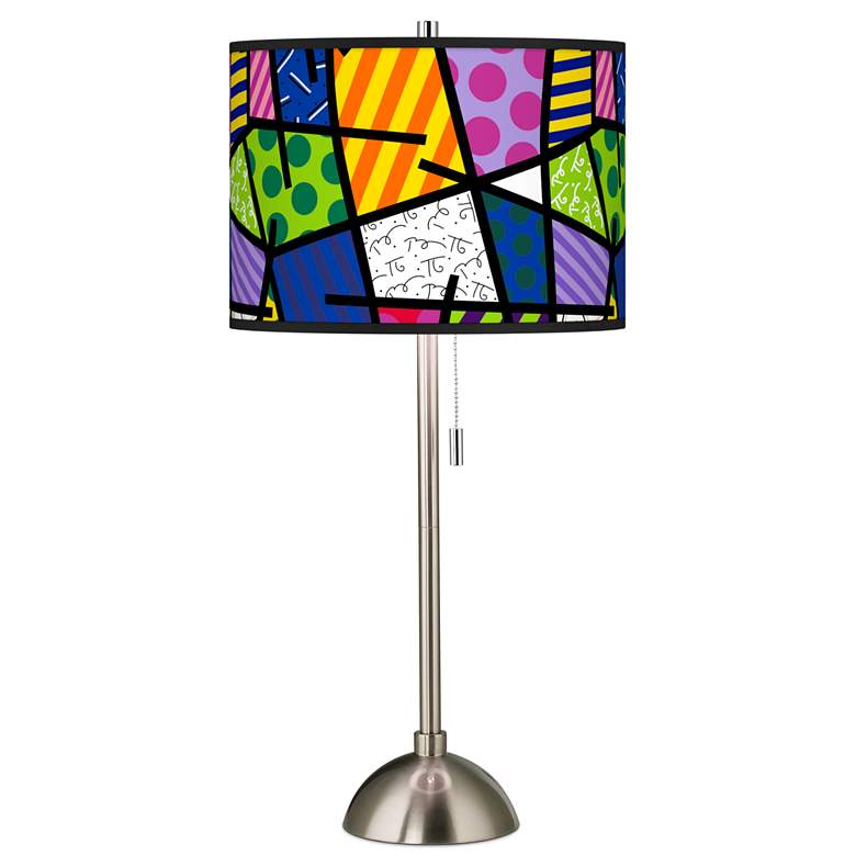 Romero Britto Abstract Giclee Brushed Nickel Table Lamp