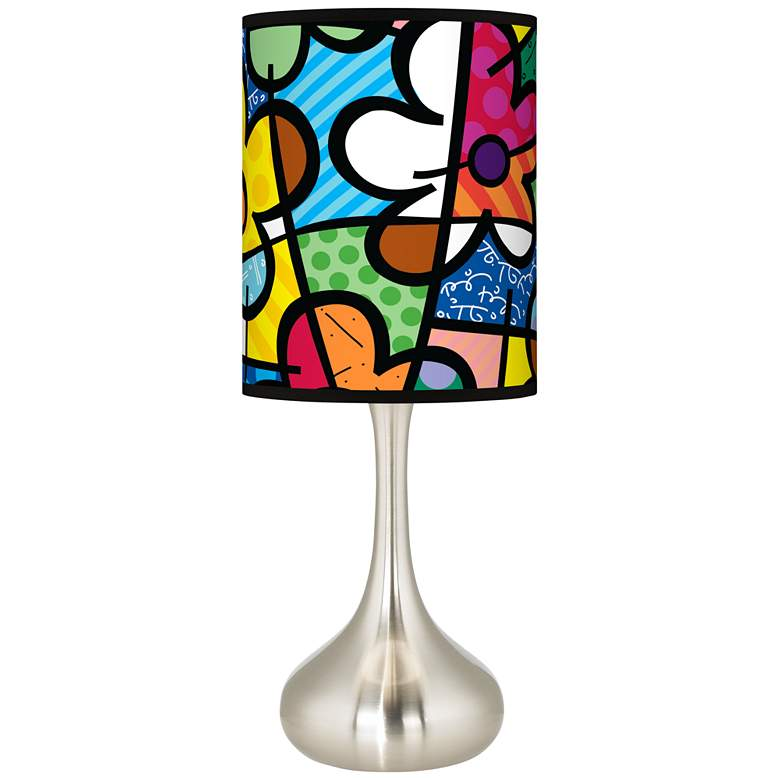 Romero Britto Flowers Giclee Droplet Table Lamp