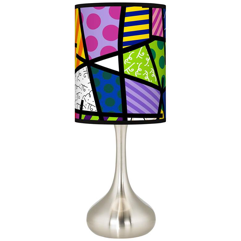 Romero Britto Abstract Giclee Droplet Table Lamp