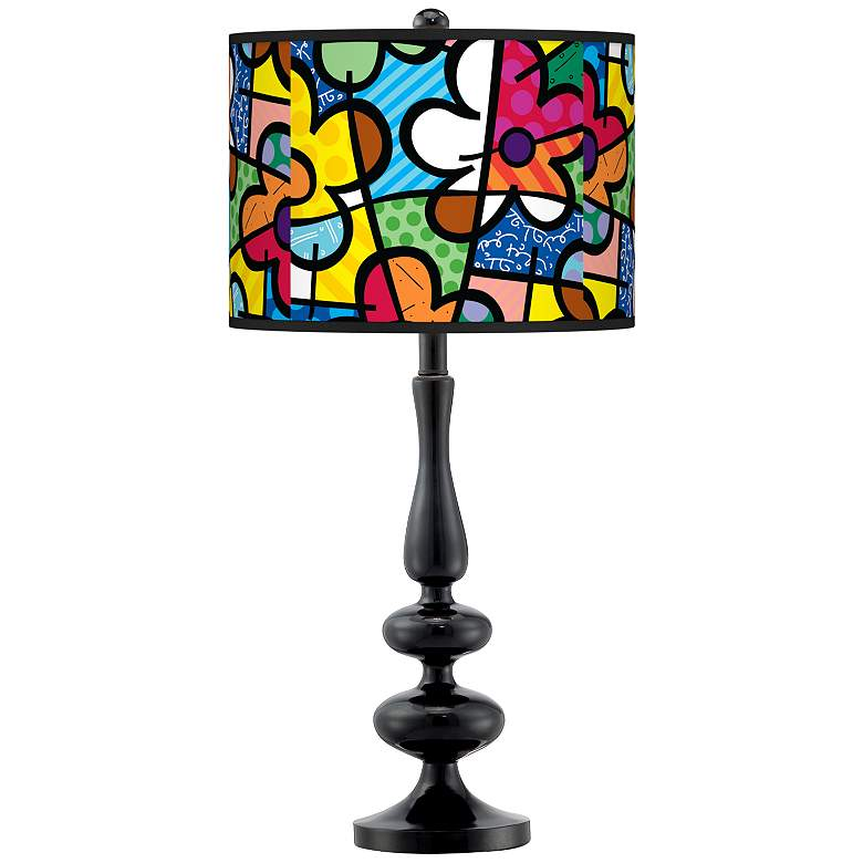 Romero Britto Flowers Giclee Paley Black Table Lamp