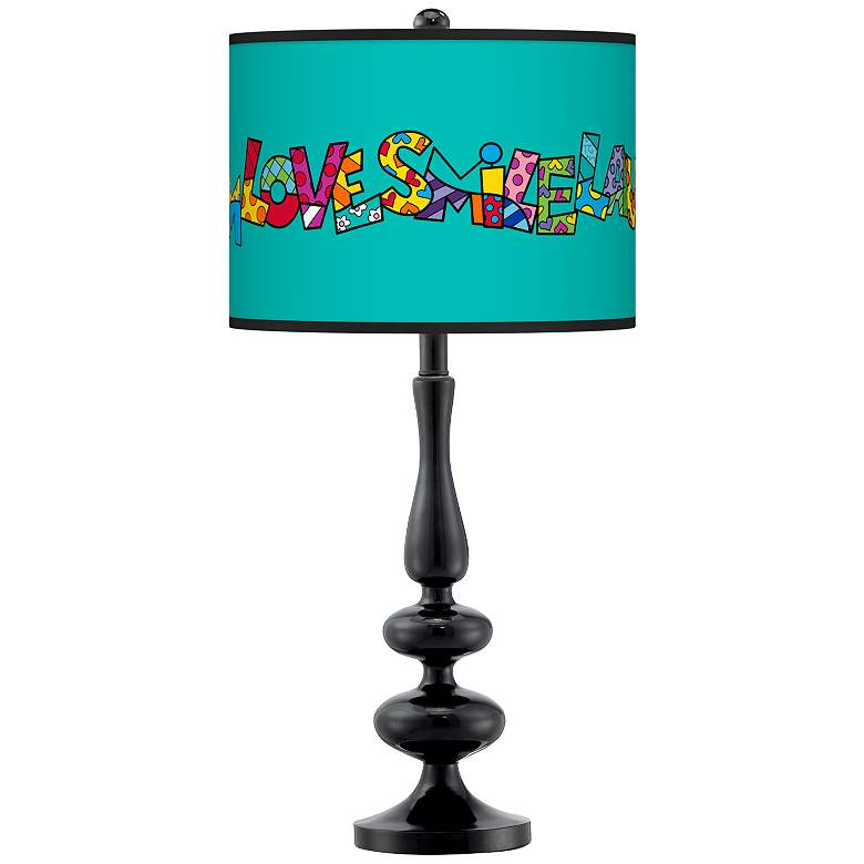 Britto Love Smile Giclee Paley Black Table Lamp