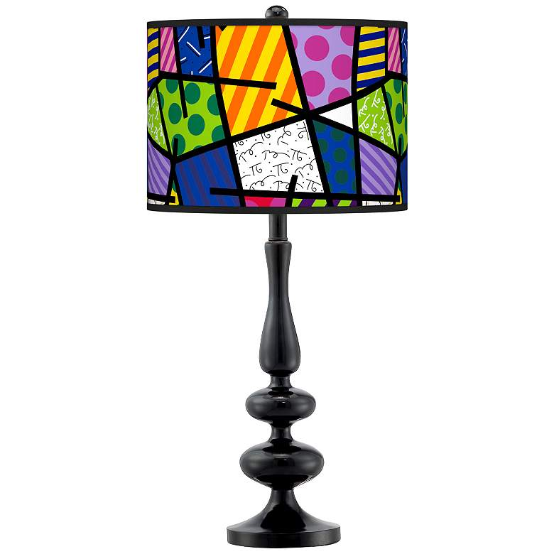 Romero Britto Abstract Giclee Paley Black Table Lamp