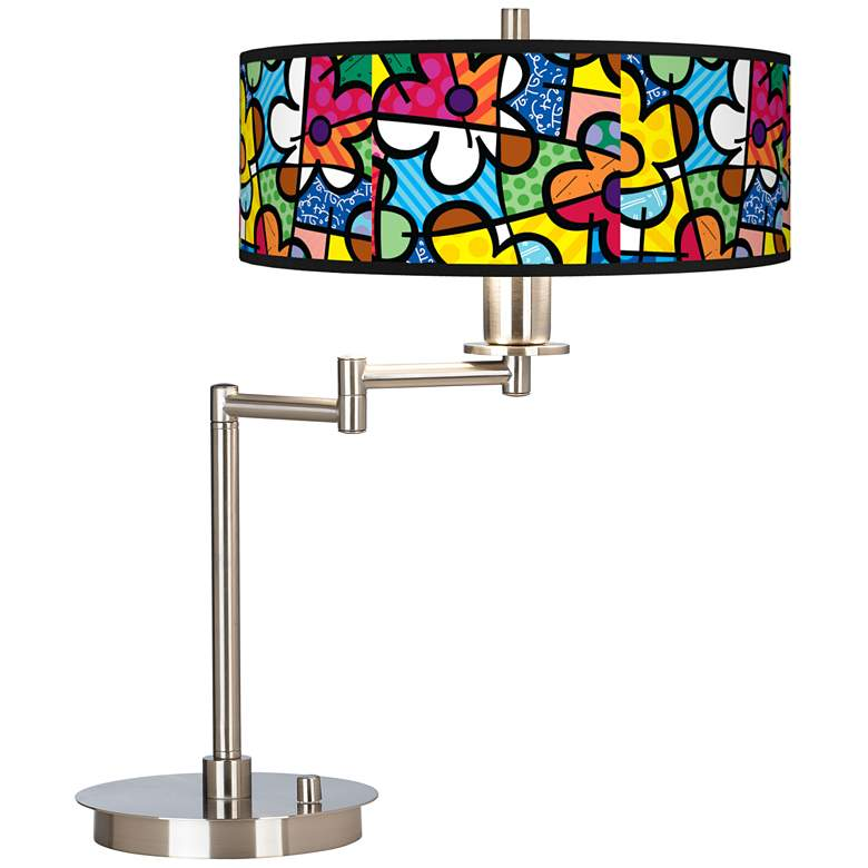 Britto Flowers Giclee Swing Arm LED Desk Lamp