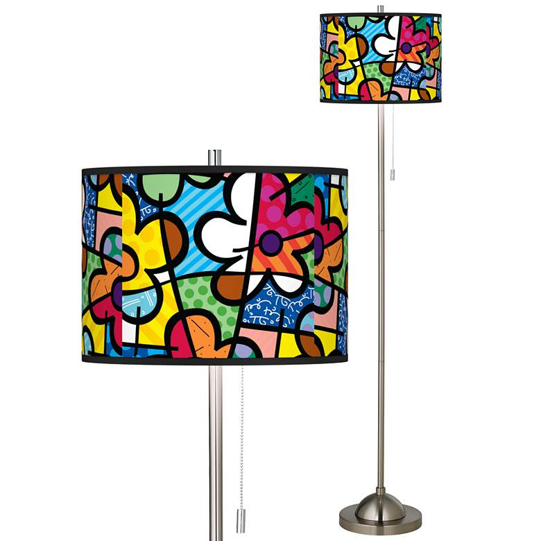 Britto Flowers Brushed Nickel Pull Chain Floor Lamp
