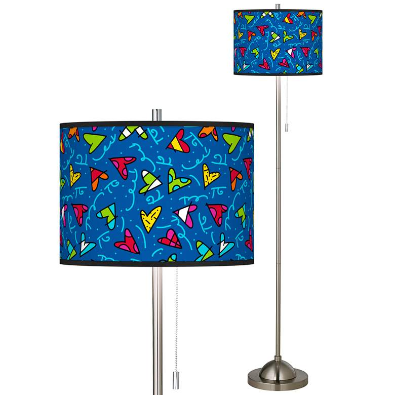 Britto Hearts Brushed Nickel Pull Chain Floor Lamp