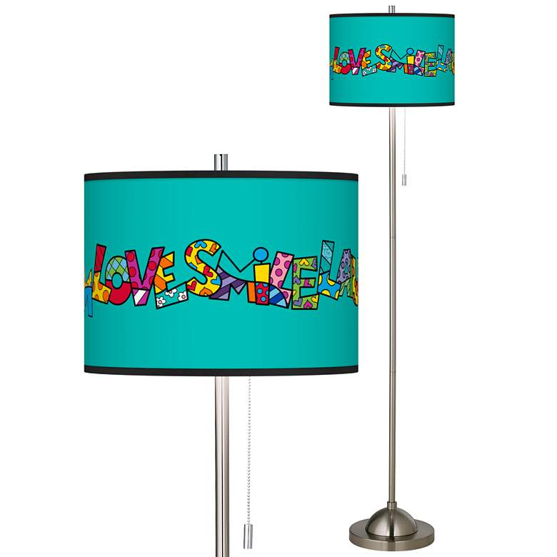 Britto Love Smile Brushed Nickel Pull Chain Floor Lamp