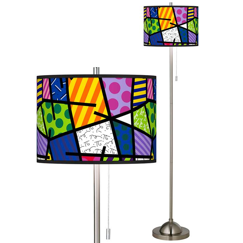 Romero Britto Abstract Brushed Nickel Pull Chain Floor Lamp