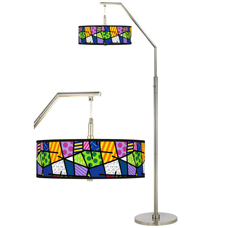 Britto Abstract Giclee Shade Arc Floor Lamp
