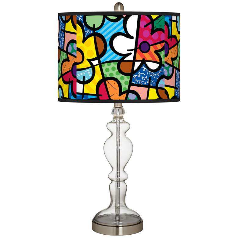 Romero Britto Flowers Giclee Apothecary Clear Glass Table Lamp