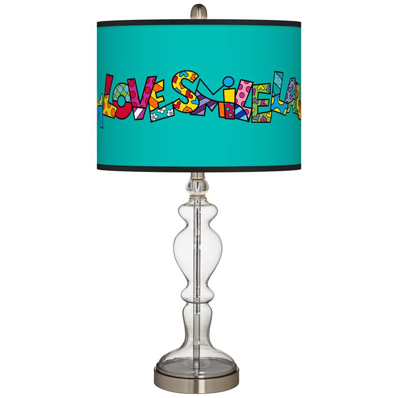 Britto Love Smile Giclee Apothecary Clear Glass Table Lamp