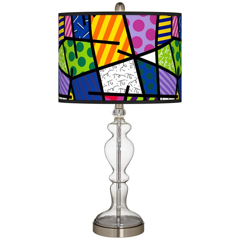 Romero Britto Abstract Giclee Apothecary Clear Glass Table Lamp