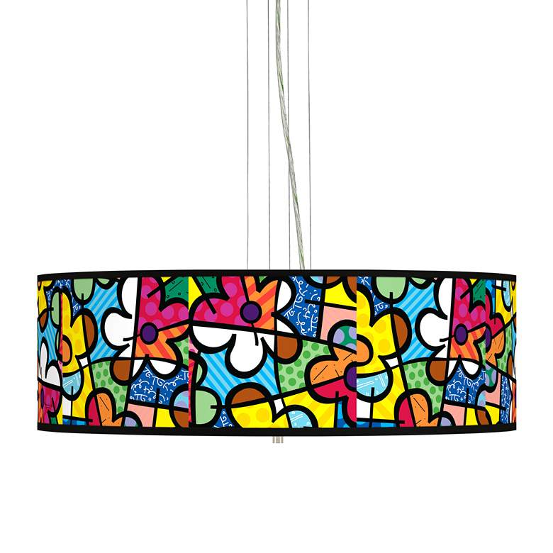 "Romero Britto Flowers Giclee 24"" Wide 4-Light Pendant"