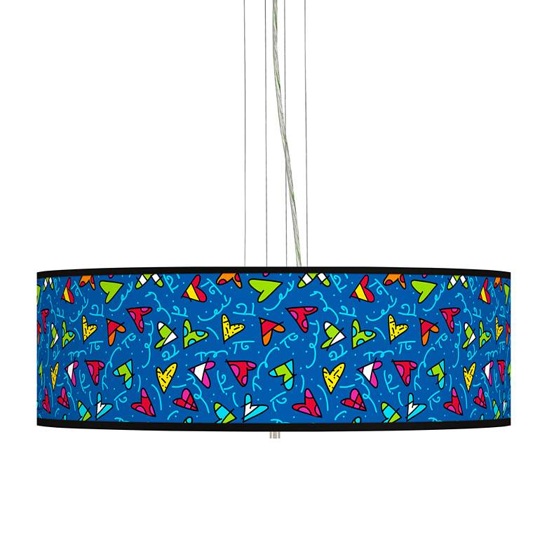 "Britto Hearts Giclee 24"" Wide 4-Light Pendant Chandelier"