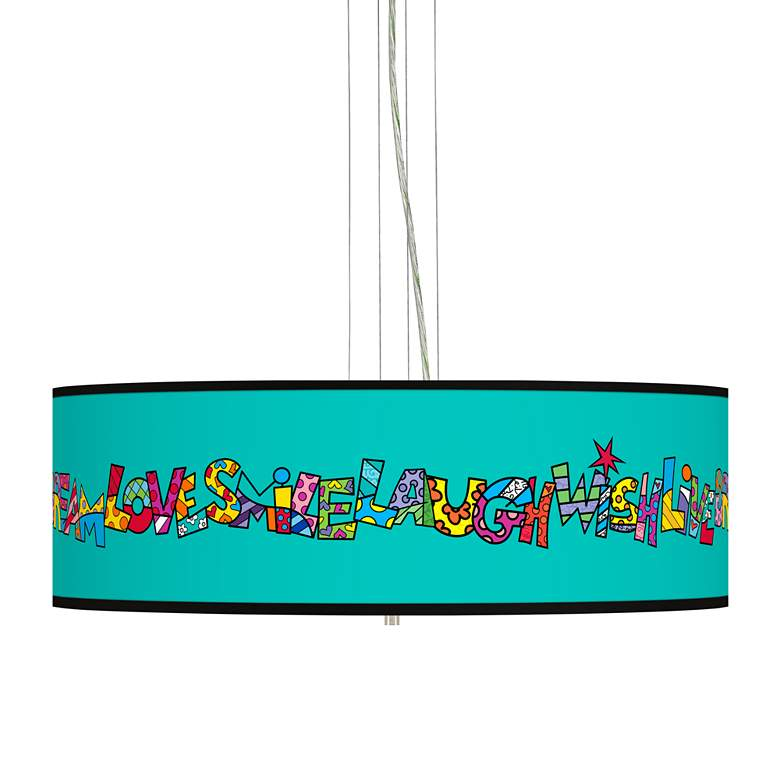 "Britto Love Smile Giclee 24"" Wide 4-Light Pendant Chandelier"