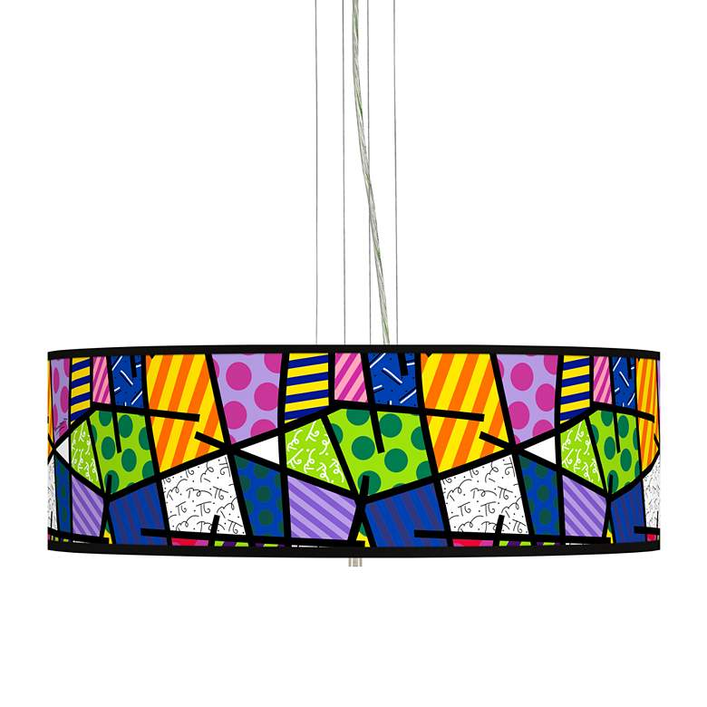 """Romero Britto Abstract Giclee 24"""" Wide 4-Light Pendant Chandelier"""