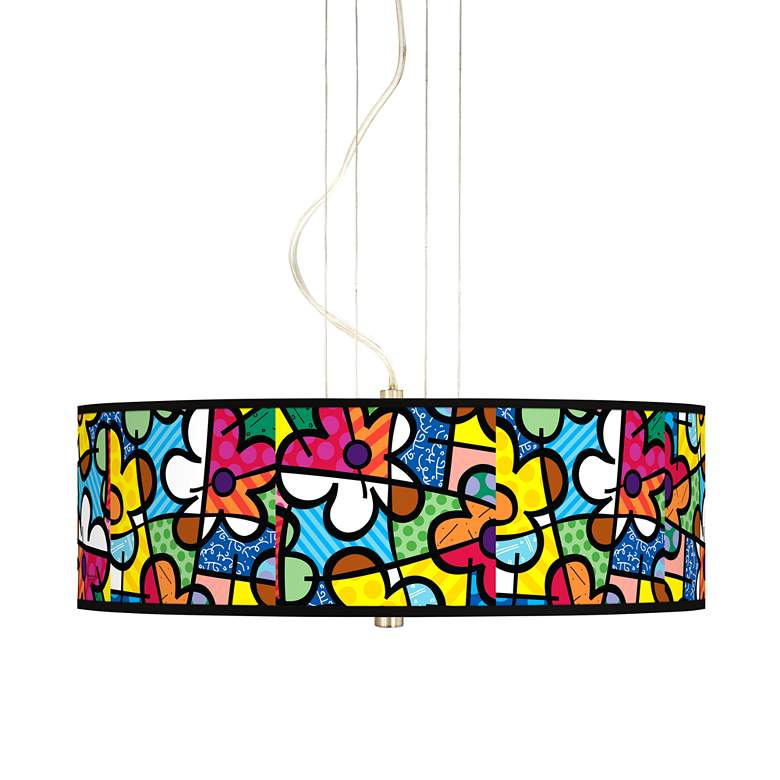 "Britto Flowers 20"" Wide 3-Light Pendant Chandelier"