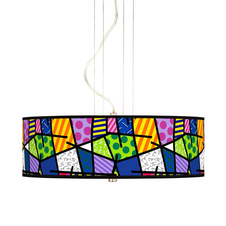 """Britto Abstract 20"""" Wide 3-Light Pendant Chandelier"""