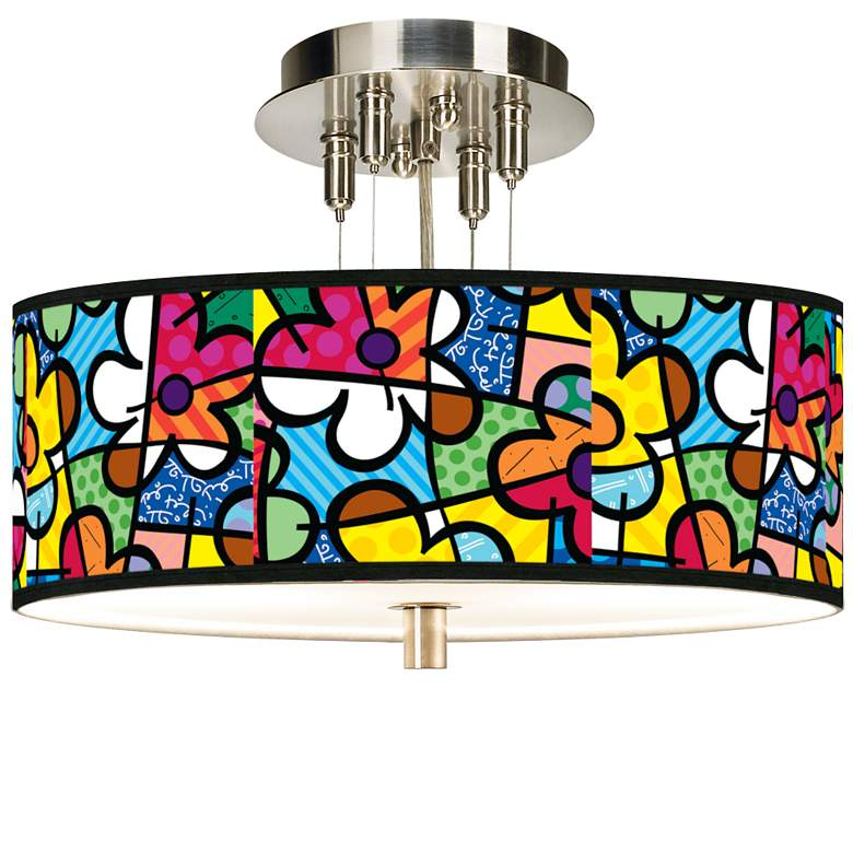 """Romero Britto Flowers Giclee 14"""" Wide Ceiling Light"""