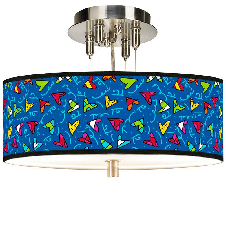 "Romero Britto Hearts Giclee 14"" Wide Ceiling Light"