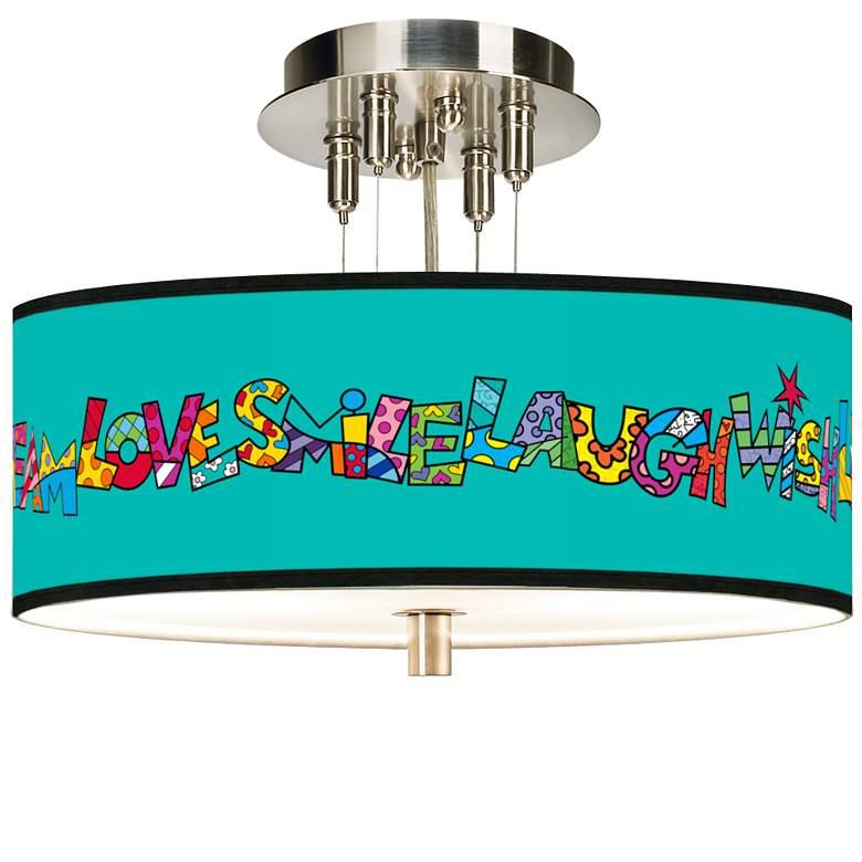 "Romero Britto Love Smile Giclee 14"" Wide Ceiling Light"
