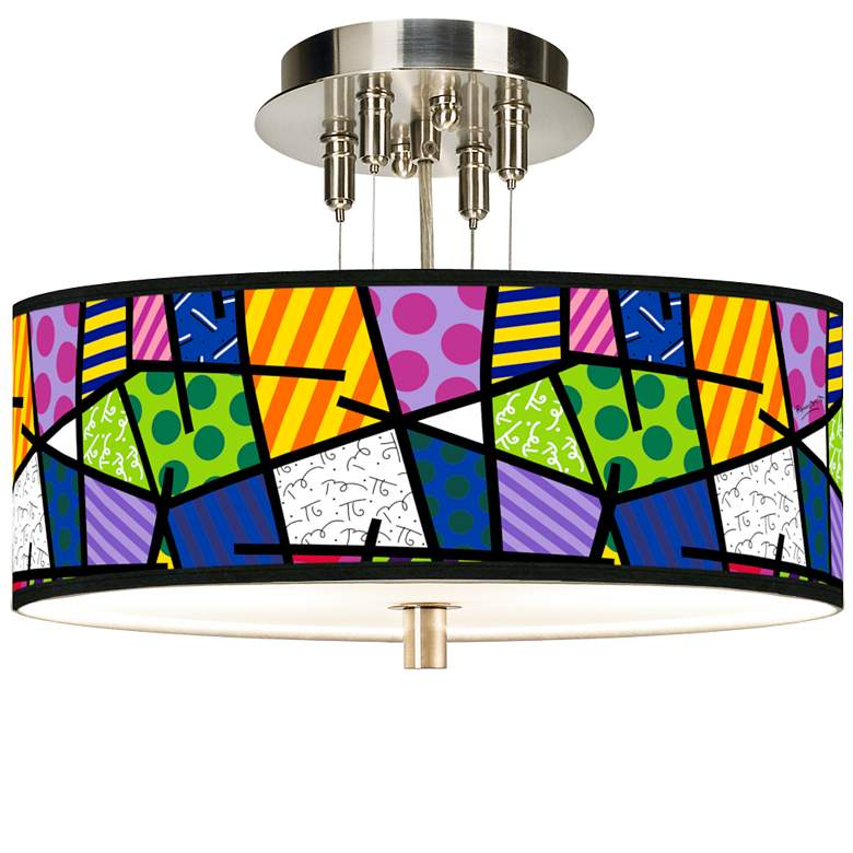 """Romero Britto Abstract Giclee 14"""" Wide Ceiling Light"""