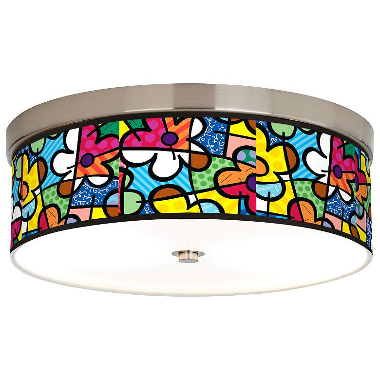 Romero Britto Flowers Giclee Energy Efficient Ceiling Light
