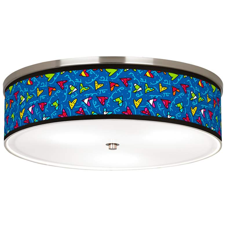 """Britto Hearts Giclee Nickel 20 1/4"""" Wide Ceiling Light"""