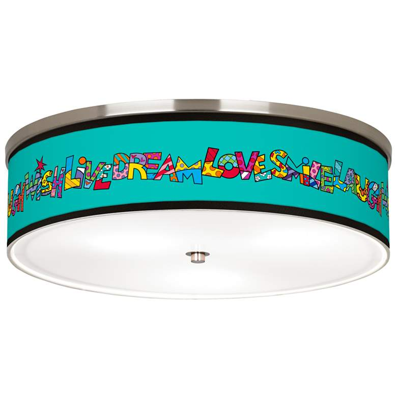 """Britto Love Smile Giclee Nickel 20 1/4"""" Wide Ceiling Light"""