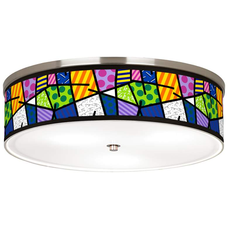 """Britto Abstract Giclee Nickel 20 1/4"""" Wide Ceiling Light"""