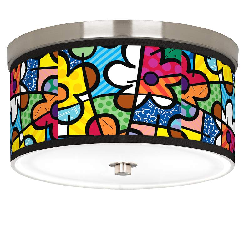"""Britto Flowers Giclee Nickel 10 1/4"""" Wide Ceiling Light"""