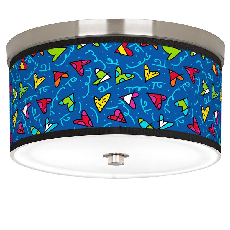 """Britto Hearts Giclee Nickel 10 1/4"""" Wide Ceiling Light"""