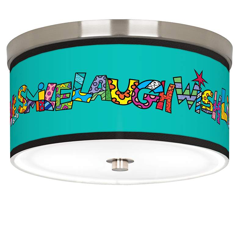 "Britto Love Smile Giclee Nickel 10 1/4"" Wide Ceiling Light"