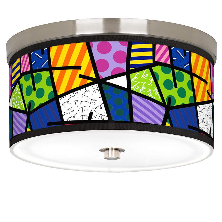 """Romero Britto Abstract Giclee Nickel 10 1/4"""" Wide Ceiling Light"""