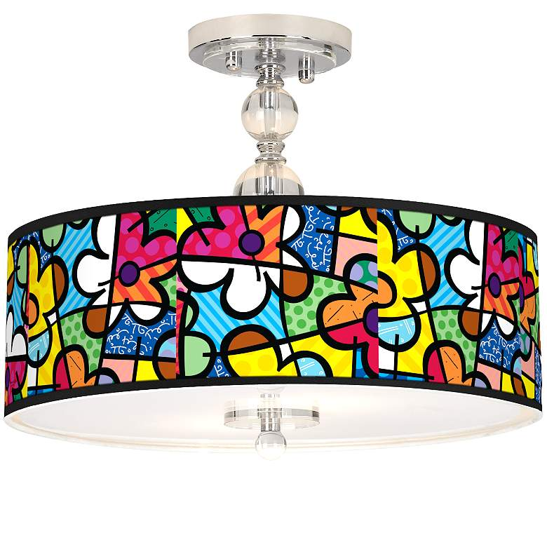 "Romero Britto Flowers Giclee 16"" Wide Semi-Flush Ceiling"