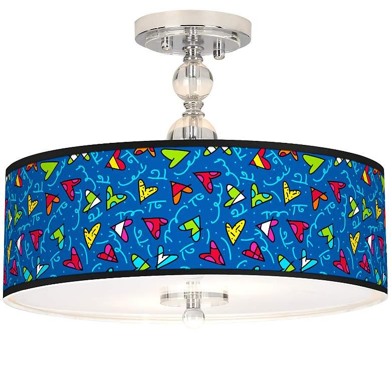 """Romero Britto Hearts Giclee 16"""" Wide Semi-Flush Ceiling Light"""