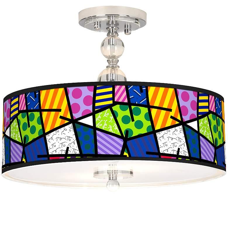 "Romero Britto Abstract Giclee 16"" Wide Semi-Flush Ceiling Light"