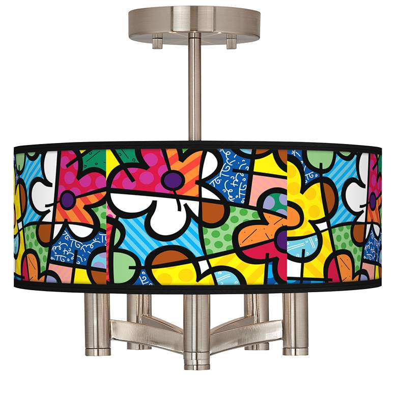 Romero Britto Flowers Ava 5-Light Nickel Ceiling Light